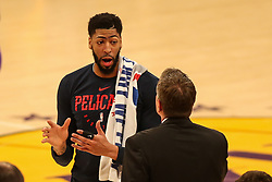 February 27, 2019 - Los Angeles, CA, U.S. - LOS ANGELES, CA - FEBRUARY 27: New Orleans Pelicans Forward Anthony Davis (23) talks with an assistant coach during a timeout in the the first half of the New Orleans Pelicans versus Los Angeles Lakers game on February 27, 2019, at Staples Center in Los Angeles, CA. (Photo by Icon Sportswire) (Credit Image: © Icon Sportswire/Icon SMI via ZUMA Press)