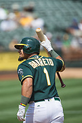 Oakland Athletics second baseman Franklin Barreto (1) reacts to striking out against the Los Angeles Angels at Oakland Coliseum in Oakland, California, on September 6, 2017. (Stan Olszewski/Special to S.F. Examiner)
