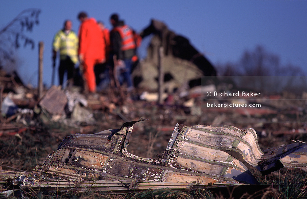 Debris of Korean Air Cargo Flight 8509, a Boeing 747-2B5F, registered HL7451 and bound for Milano-Malpensa Airport, which crashed due to instrument malfunction and pilot error on 22 December 1999 shortly after take-off from London Stansted Airport. The aircraft crashed into Hatfield Forest near the village of Great Hallingbury close to but clear of some local houses. All four crew on board were killed.
