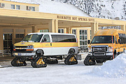 Specialized snowcoaches arrive at the Mammoth Hotel to shuttle people into the interior of Yellowstone National Park in the winter.
