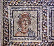 Roman mosaics - Seasons  Mosaic. Telete Villa.  2nd - 3rd century AD . Zeugma Mosaic Museum, Gaziantep, Turkey.<br /> <br /> Seasons mosaic Telete, was unearthed during the rescue excavations y Gaziantep Museum in 1994 when it was about to be stolen by the traffickers. It is the floor mosaic of a villa terrace located on the western skins of Zeugma hill <br /> <br /> The pane% consists of nine parts. At the central panel, Eros, who Is a mythological character and who has a crown on his head, sits side by side with Telete, the daughter of Dionysus. This representation symbolises the preparation of a young woman who is just about to taste the love and to become mature. There are busts of seasonal gods In the square panels at the corners. The crowned head of the Spring Goddess Ear Is slightly towards right. She wears a floral necklace. Her righr shoulder is naked and the crimps of her cloak are seen on her left shoulder. There is the bust of the river god on the top-right of the Telete panel. A kid lying on the grass and a bucket are pictured in the lower rectangular panel. In the western-side rectangular panel, on the other hand, there are four fish going in and out of a game basket. There is a rabbit figure within the rectangular panel on the right. Mythical narrations and natural life are intertwined in this mosaic. .<br /> <br /> If you prefer to buy from our ALAMY PHOTO LIBRARY  Collection visit : https://www.alamy.com/portfolio/paul-williams-funkystock/roman-mosaic.html - Type -   Zeugma   - into the LOWER SEARCH WITHIN GALLERY box. Refine search by adding background colour, place, museum etc<br /> <br /> Visit our ROMAN MOSAIC PHOTO COLLECTIONS for more photos to download  as wall art prints https://funkystock.photoshelter.com/gallery-collection/Roman-Mosaics-Art-Pictures-Images/C0000LcfNel7FpLI