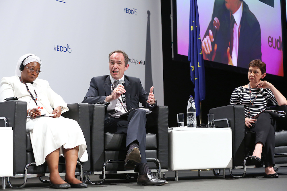 03 June 2015 - Belgium - Brussels - European Development Days - EDD - Trade - Trade for inclusive and sustainable growth - Zeinabou Maidah<br /> Chief Executive Officer, NIGER-Lait S.A. - Jean-Christophe Laloux<br /> Director General and Head of Operations - Trudi Hartzenberg , Executive Director , tralac © European Union