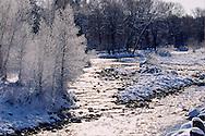 frosty morning on Provo River near Francis, UT USA