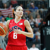 05 August 2012: USA Sue Bird brings the ball upcourt during 114-66 Team USA victory over Team China, during the women's basketball preliminary, at the Basketball Arena, in London, Great Britain.