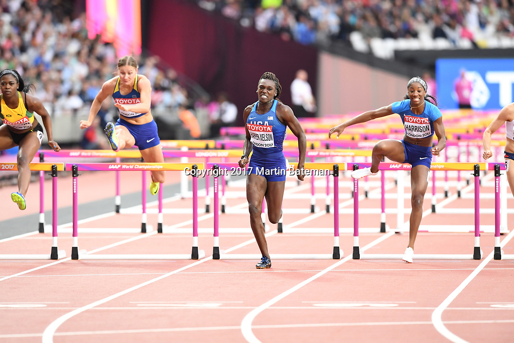 Dawn Harper-Nelson competes in the women's 100m hurdles at the IAAF world Athletics Championships in London, August 11th 2017
