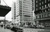 1949 Postcard looking north on Vine St. towards Hollywood Blvd.