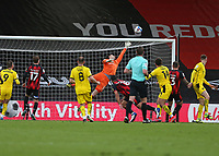 Football - 2020 / 2021 Sky Bet Championship - AFC Bournemouth vs. Barnsley - The Vitality Stadium<br /> <br /> Carlton Morris of Barnsley rises the highest to head the winning goal at the Vitality Stadium (Dean Court) Bournemouth <br /> <br /> COLORSPORT/SHAUN BOGGUST