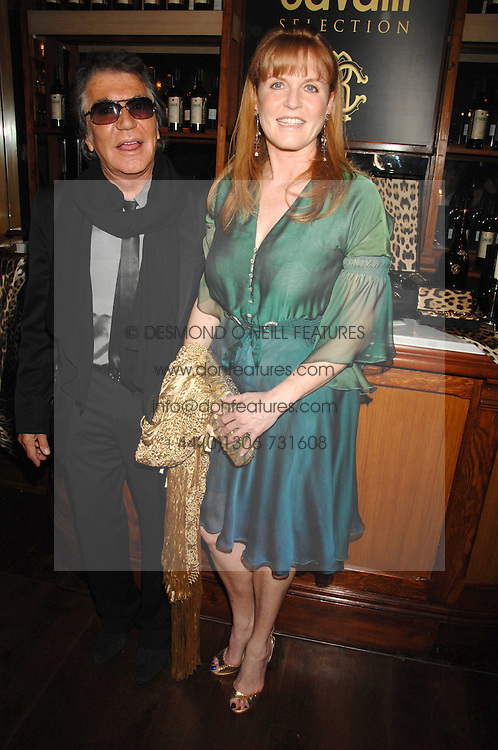 ROBERTO CAVALLI and SARAH, DUCHESS OF YORK at a party to celebrate the launch of Cavalli Selection - the first ever wine from Casa Cavalli, held at 17 Berkeley Street, London W1 on 29th May 2008.<br /><br />NON EXCLUSIVE - WORLD RIGHTS