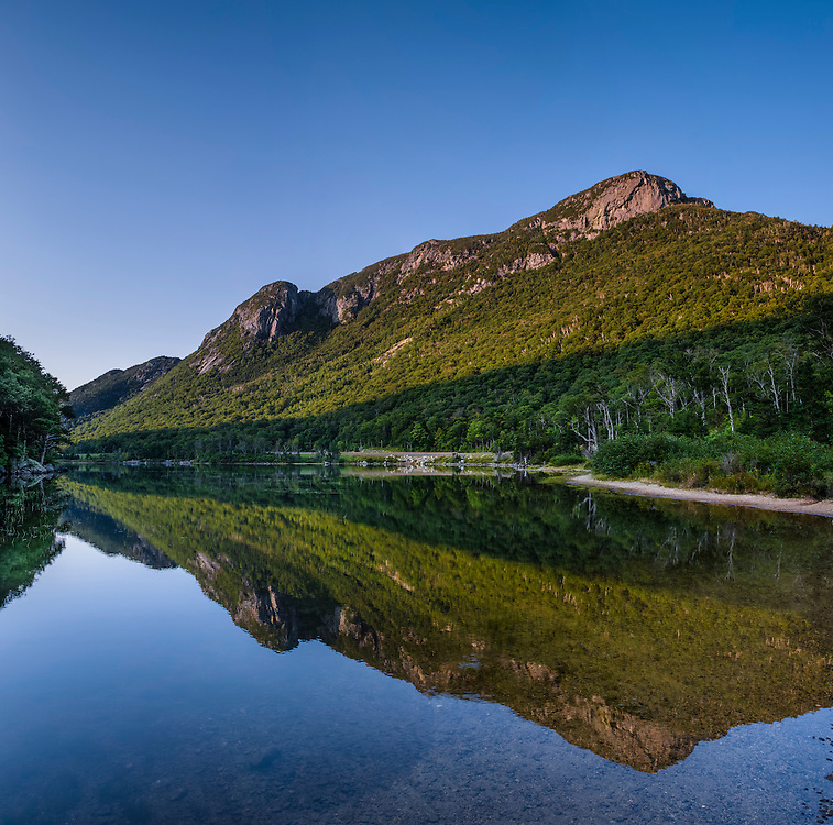 Echo Lake in summer with still water reflections, Franconia Notch State Park, Franconia, NH