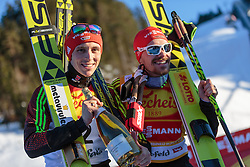 29.01.2016, Casino Arena, Seefeld, AUT, FIS Weltcup Nordische Kombination, Seefeld Triple, Siegerehrung, im Bild v.l.: Sieger Eric Frenzel (GER) und Fabian Riessle (GER, 3. Platz) // f.l.: Winner Eric Frenzel of Germany and 3rd placed Fabian Riessle of Germany celebrate on Podium after the 1st Day of the FIS Nordic Combined World Cup Seefeld Triple at the Casino Arena in Seefeld, Austria on 2016/01/29. EXPA Pictures © 2016, PhotoCredit: EXPA/ JFK