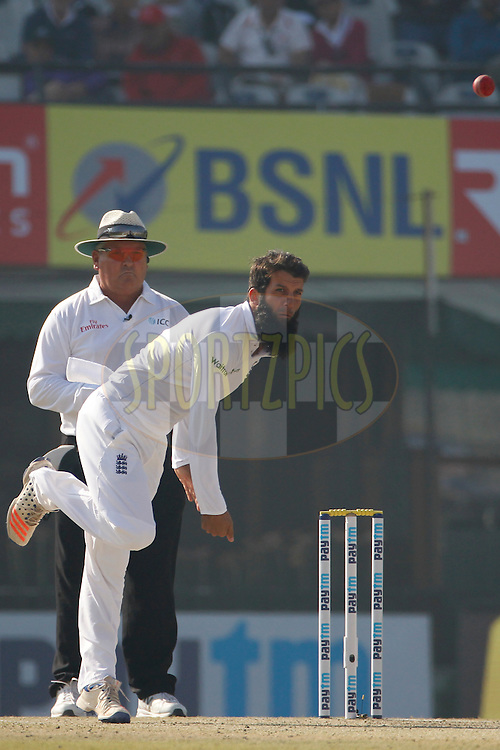 Moeen Ali of England bowls a delivery during day 2 of the third test match between India and England held at the Punjab Cricket Association IS Bindra Stadium, Mohali on the 27th November 2016.<br /> <br /> Photo by: Deepak Malik/ BCCI/ SPORTZPICS