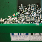 The aluminum recycling bin in the machine shop of Chris King Precision Components.