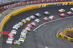 May 26, 2018 - Concord, North Carolina, United States of America - Brad Keselowski (22) and Tyler Reddick (9) lead the field off turn four to a restart during the Alsco 300 at Charlotte Motor Speedway in Concord, North Carolina. (Credit Image: © Chris Owens Asp Inc/ASP via ZUMA Wire)