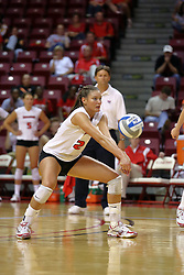 16 SEP 2008: Peggy Riessen digs the ball out and passes it to the front during a match at Redbird Arena on the campus of Illinois State University in Normal Illinois.  The Illinois State Redbirds went toe to toe with the University of Illinois Illini but in the end were outpaced by the 23rd ranked Division 1 Illini team 3 sets to 1.