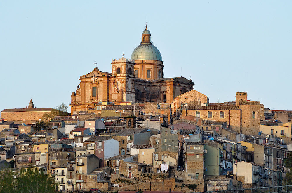 The hilltop town of Piazza Armerina, Sicily, Italy.