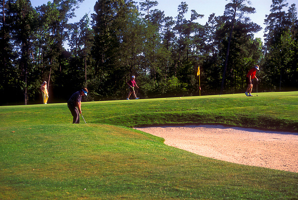 Stock photo of a man with a group trying to chip a shot out of the sand trap