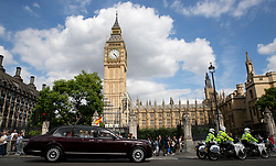 Spain's King Felipe IV and Queen Letizia arrive at the Palace of Westminster after her husband King Felipe VI is to deliver an Address in the Royal Gallery to Parliamentarians during the first day of the King's State Visit to the UK. Picture dated: Wednesday July 12, 2017. Photo credit should read: Isabel Infantes / EMPICS Entertainment.
