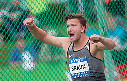 29.05.2016, Moeslestadion, Goetzis, AUT, 42. Hypo Meeting Goetzis 2016, Zehnkampf der Herren, Diskus, im Bild Pieter Braun of (NED) // Pieter Braun of Netherlands reacts during the discus throw event of the Decathlon competition at the 42th Hypo Meeting at the Moeslestadion in Goetzis, Austria on 2016/05/29. EXPA Pictures © 2016, PhotoCredit: EXPA/ Peter Rinderer