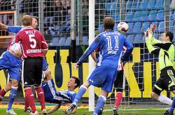 27.02.2010.rewir power Stadion, Bochum, GER, 1.FBL,VFL Bochum vs.1.FC Nuernberg, 24.Spieltag, Rueckrunde , im Bild  die Grosschance fuer Bochum durch Mergim Mavraj (Bochum #20) mit dem Fallruechzieher, doch Torwart #01 Schäfer, Raphael  (Nuernberg ) kann abweheren.Zlatko Dedic (Bochum #11) schaut zu.. ..EXPA Pictures © 2010, PhotoCredit: EXPA/ nph/  Freund / for Slovenia SPORTIDA PHOTO AGENCY.