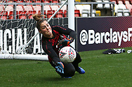 Manchester United goalkeeper Mary Earps (27) warming up during the FA Women's Super League match between Manchester United Women and Manchester City Women at Leigh Sports Village, Leigh, United Kingdom on 14 November 2020.