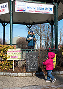 Bar Harbor, Maine, USA. 19 January, 2019.  Haley Merchant addresses the crowd gathers on the Village Green for the Women's March Bar Harbor, a sister march of the national Women's March.