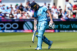 Ben Stokes of England cuts a dejected figure after losing his wicket - Mandatory by-line: Robbie Stephenson/JMP - 03/07/2019 - CRICKET - Emirates Riverside - Chester-le-Street, England - England v New Zealand - ICC Cricket World Cup 2019 - Group Stage