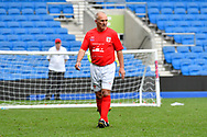 Paul Walton of England over 50's shoots at goal during the world's first Walking Football International match between England and Italy at the American Express Community Stadium, Brighton and Hove, England on 13 May 2018. Picture by Graham Hunt.