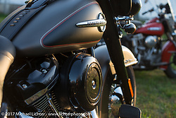 2018 Harley-Davidson Heritage Classic with it's Milwaukee-8 engine in the new Softail frame as featured in HOG magazine with a 1949 Harley-Davidson EL Panhead. Aberdeen, SD. USA. Sunday October 8, 2017. Photography ©2017 Michael Lichter.