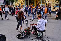 République d'Irlande, Dublin, musicien des rues à Grafton Street // Republic of Ireland; Dublin, street musician in Grafton Street