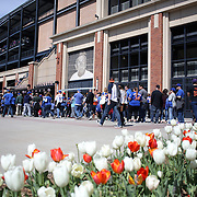 NEW YORK, NEW YORK - APRIL 30:  Fans queue before a springtime match during the New York Mets Vs San Francisco Giants MLB regular season game at Citi Field on April 30, 2016 in New York City. (Photo by Tim Clayton/Corbis via Getty Images)