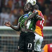 Galatasaray's Dany Nounkeu (R) and Braga's Eder during their UEFA Champions League Group H matchday 2 soccer match Galatasaray between Braga at the TT Arena Ali Sami Yen Spor Kompleksi in Istanbul, Turkey on Tuesday 02 October 2012. Photo by Aykut AKICI/TURKPIX