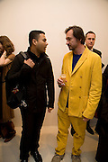 Shah Abdul-Wahid and Mark Newson, Exhibition of work by Marc Newson at the Gagosian Gallery, Davies st. London. afterwards at Mr. Chow, Knightsbridge. 5 March 2008.  *** Local Caption *** -DO NOT ARCHIVE-© Copyright Photograph by Dafydd Jones. 248 Clapham Rd. London SW9 0PZ. Tel 0207 820 0771. www.dafjones.com.