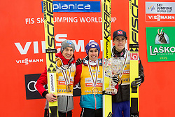 Second placed Kamil Stoch (POL), winner Stefan Kraft (AUT) and third placed Andre Daniel Tande (NOR) in Overall Ski Jumping World Cup classification celebrate at trophy ceremony after the Ski Flying Hill Men's Individual Competition at Day 4 of FIS Ski Jumping World Cup Final 2017, on March 26, 2017 in Planica, Slovenia. Photo by Vid Ponikvar / Sportida