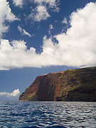 View of Makaha Ridge from the Pacific Ocean, off of the Na Pali Coast, Kauai, Hawaii, USA.