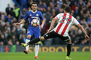 Pedro of Chelsea (L) in action with Yoann Barbet of Brentford (R). The Emirates FA Cup 4th round match, Chelsea v Brentford at Stamford Bridge in London on Saturday 28th January 2017.<br /> pic by Steffan Bowen, Andrew Orchard sports photography.