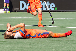 Jeroen Hertzberger of The Netherlands celebrate his goal but it was cancelled by the video referee during the Champions Trophy match between the Netherlands and India on the fields of BH&BC Breda on June 30, 2018 in Breda, the Netherlands