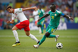 June 19, 2018 - Moscou, Rússia - MOSCOU, MO - 19.06.2018: POLAND VS SENEGAL - Grzegorz Krychowiak of Poland ball dispute with Sadio Mane of Senegal during match between Poland vs Senegal valid for the first round of group H of the 2018 World Cup held at the Otkrytie Arena in Moscow, Russia. (Credit Image: © Marcelo Machado De Melo/Fotoarena via ZUMA Press)