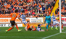 Dundee United's Lawrence Shankland scoring their second goal. half time : Dundee United 3 v 0 Morton, Scottish Championship game played 28/9/2019 at Dundee United's stadium Tannadice Park.
