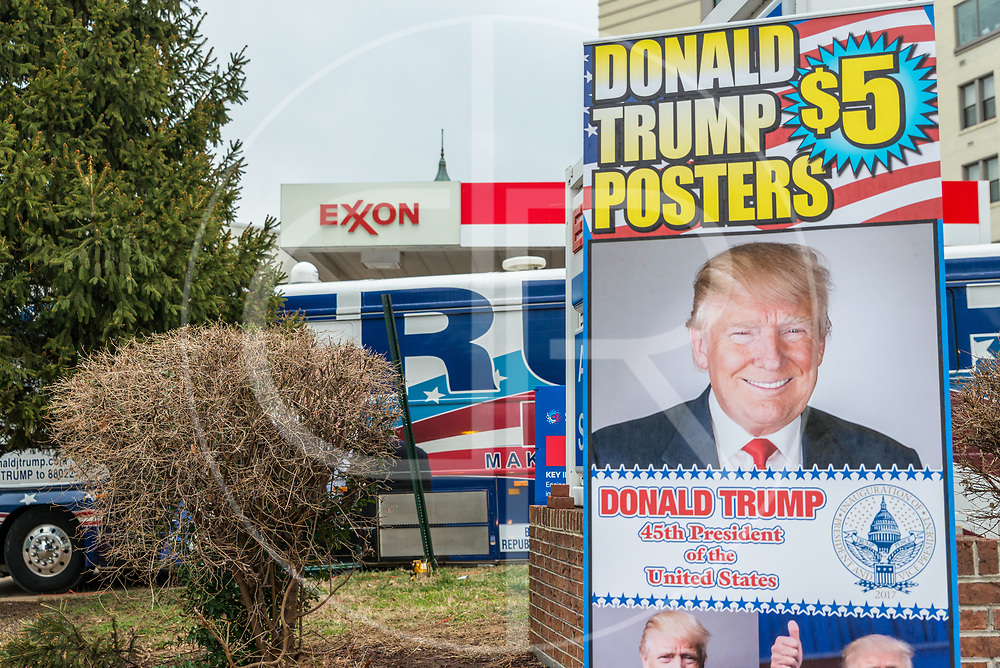 Washington DC, United States - $5 Donald J. Trump posters are sold on the day of his inauguration in Washington D.C.