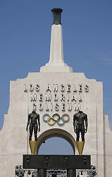 August 2, 2017 - Los Angeles, California, U.S - The facade of The Los Angeles Memorial Coliseum in Los Angeles.  Los Angeles will host the Olympic Games and Paralympic Games 2028. (Credit Image: © Ringo Chiu via ZUMA Wire)
