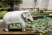 India, Rajasthan, Udaipur Saheliyon Ki Bari gardens, built for the women of Maharana Sangram Singh II in the 18th century. Marble elephant in a water pond