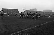 Australians trying to hold back Irish pack after line out,..Irish Rugby Football Union, Ireland v Australia, Tour Match, Landsdowne Road, Dublin, Ireland, Saturday 21st January, 1967,.21.1.1967, 1.21.1967,..Referee- M Joseph, Welsh Rugby Union, ..Score- Ireland 15 - 8 Australia, ..Irish Team, ..T J Kiernan,  Wearing number 15 Irish jersey, Full Back, Cork Constitution Rugby Football Club, Cork, Ireland,..A T A Duggan, Wearing number 14 Irish jersey, Right Wing, Landsdowne Rugby Football Club, Dublin, Ireland,..F P K Bresnihan, Wearing number 13 Irish jersey, Right Centre, University College Dublin Rugby Football Club, Dublin, Ireland, ..H H Rea, Wearing number 12 Irish jersey, Left Centre, Edinburgh University Rugby Football Club, Edinburgh, Scotland, ..P J McGrath,  Wearing number 11 Irish jersey, Left Wing, University college Cork Rugby Football Club, Cork, Ireland,  ..C M H Gibson, Wearing number 10 Irish jersey, Stand Off, N.I.F.C, Rugby Football Club, Belfast, Northern Ireland, ..B F Sherry, Wearing number 9 Irish jersey, Scrum Half, Terenure Rugby Football Club, Dublin, Ireland, ..K G Goodall, Wearing number 8 Irish jersey, Forward, Newcastle University Rugby Football Club, Newcastle, England, ..M G Doyle, Wearing number 7 Irish jersey, Forward, Edinburgh Wanderers Rugby Football Club, Edinburgh, Scotland, ..N Murphy, Wearing number 6 Irish jersey, Forward, Cork Constitution Rugby Football Club, Cork, Ireland,..M Molloy, Wearing number 5 Irish jersey, Forward, University College Galway Rugby Football Club, Galway, Ireland,  ..W J McBride, Wearing number 4 Irish jersey, Forward, Ballymena Rugby Football Club, Antrim, Northern Ireland,..P O'Callaghan, Wearing number 3 Irish jersey, Forward, Dolphin Rugby Football Club, Cork, Ireland, ..K W Kennedy, Wearing number 2 Irish jersey, Forward, C I Y M S Rugby Football Club, Belfast, Northern Ireland, ..T A Moroney, Wearing number 1 Irish jersey, Forward, University College Dublin Rugby Football Club, Dublin, Ireland,