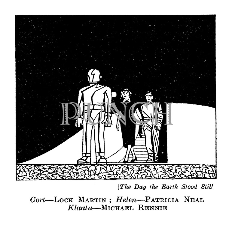 The Day the Earth Stood Still : Gort - Lock Martin; Helen - Patricia Neal. Klaatu - Michael Rennie.