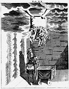 Conjuror performing tricks. From 1715 edition of JB della Porta 'Magia Naturalis' Engraving.