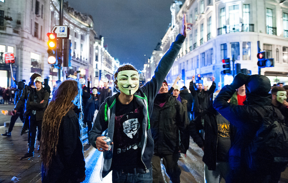 Protesters take part in the Million Man Mask London. November 5, 2014.
