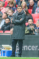 Watford manager Javi Gracia instructs his team during the The FA Cup semi-final match between Watford and Wolverhampton Wanderers at Wembley Stadium, London, England on 7 April 2019.