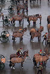 © Licensed to London News Pictures. 06/02/2012. LONDON, UK. Gunners of the Kings Troop Royal Horse Artillery prepare horses before their final parade at the unit's barracks in St Johns Wood. Gunners of the Kings Troop, based at St John's Wood since 1947, today (06/02/12) left their barracks for the last time to fire their guns in Hyde Park, the soldiers will move tomorrow to their new home in Woolwich. Photo credit: Matt Cetti-Roberts/LNP