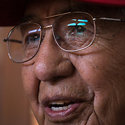 Navajo Code Talker Peter MacDonald, Sr. talks about enlisting in the U.S. Marine Corps, July 10, 2019, at his home in Tuba City, Arizona.