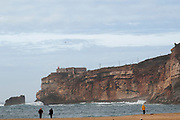 Atlantic ocean seascape with the cliff and shore of Nazare, Portugal