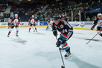 KELOWNA, CANADA - SEPTEMBER 28: Kyle Topping #24 of Kelowna Rockets skates with the puck against the Prince George Cougars on September 28, 2016 at Prospera Place in Kelowna, British Columbia, Canada.  (Photo by Marissa Baecker/Shoot the Breeze)  *** Local Caption *** Kyle Topping;